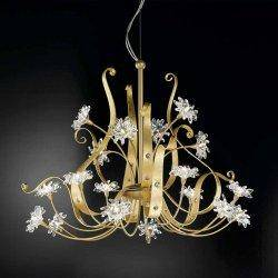 Описание и фото Люстра IDL  374/12+6 Gold leaf and light gold with golden teak Swarovski crystals